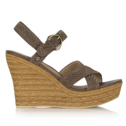 UGG® Australia Authorised Retailer Jazmine Mar Chocolate Embossed Snake Suede Wedge Sandal