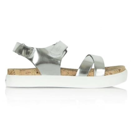 DKNY Silver Leather Brittany Corked Sole Sandal