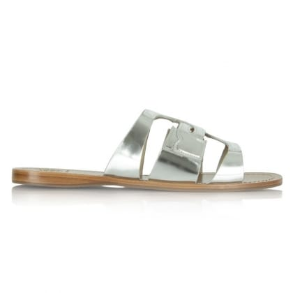 Tory Burch Anchor Slide Silver Leather Flat Sandal
