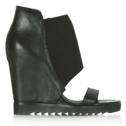 Lucky Ash Black Wedge Sandal