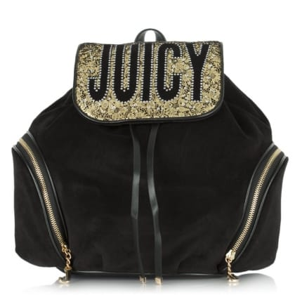 Juicy Couture Pretty Velour Black/Glitter Backpack