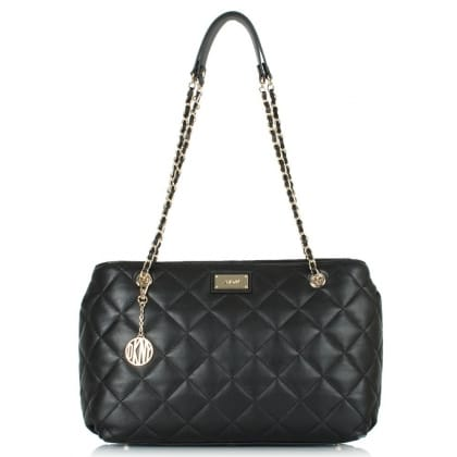 DKNY Lucy Black Leather Quilted Shopper
