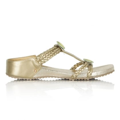 DF By Daniel Moyles Gold Womens Flat Sandal