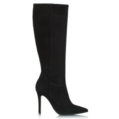Daniel Excellence Black Suede Pointed Knee High Boot