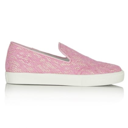 Ash Pink Lace Illusion Slip On Trainer