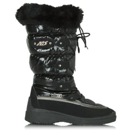 Black Patent Nitin Quilted Snow Boot