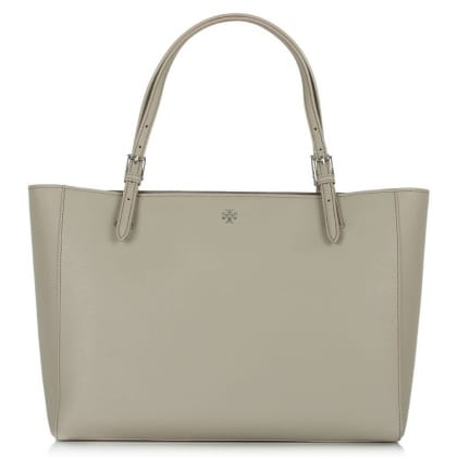 Tory Burch York Buckle Grey Leather Tote Bag