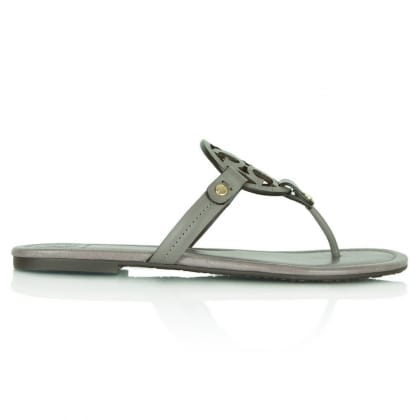 Tory Burch Miller Taupe Leather Toe Post Sandal