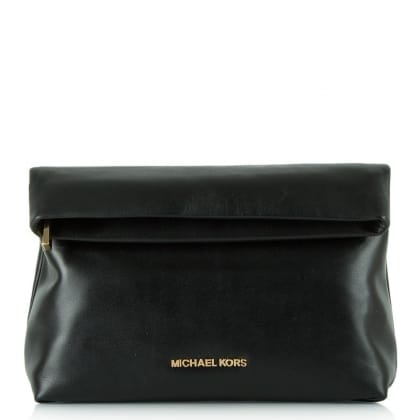 Michael Kors Daria Fold Over Black Leather Clutch Bag