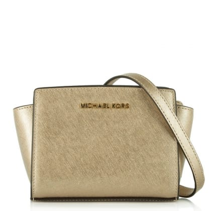Michael Kors Selma Mini Gold Leather Messenger Bag