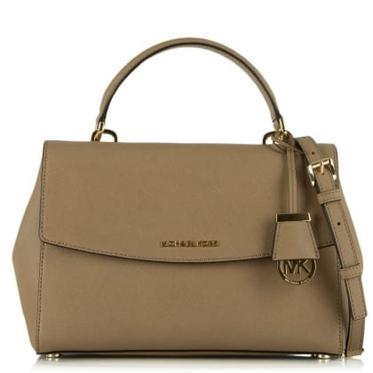 Michael Kors Ava Beige Leather Saffiano Satchel Tote Bag