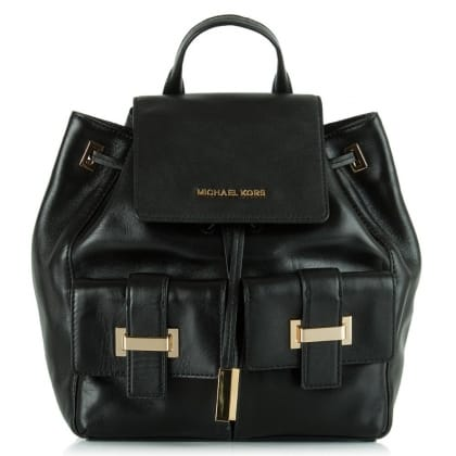 Michael Kors Marley Black Leather Drawstring Backpack