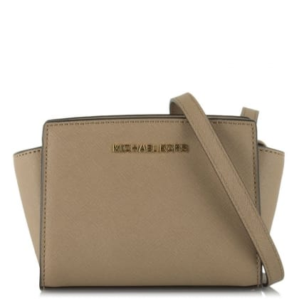Michael Kors Selma Mini Messenger Beige Leather Crossbody Bag