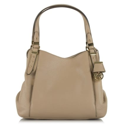 Michael Kors Bowery Large Shoulder Beige Leather Tote