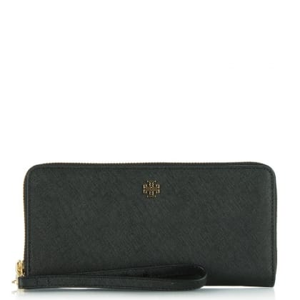 Tory Burch York Zip Around Black Leather Continental Wallet
