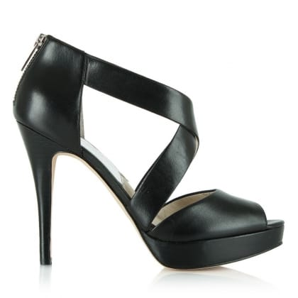 Michael Kors Ariel Black Leather Peep Toe Platform Sandal