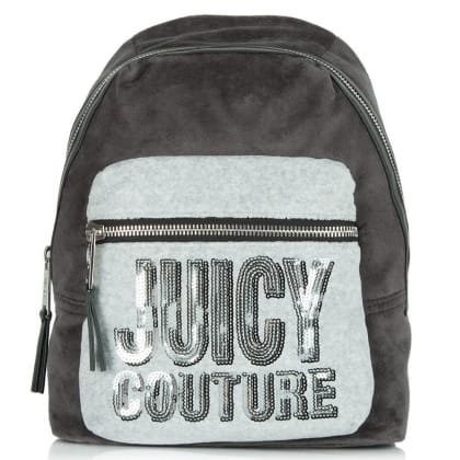 Juicy Couture Velour Grey Sequin Backpack