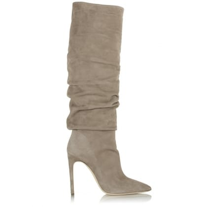 Daniel Merlyn Taupe Suede Ruched Knee High Boot