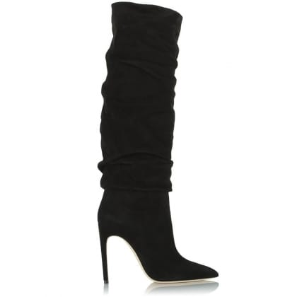 Daniel Merlyn Black Suede Ruched Knee High Boot