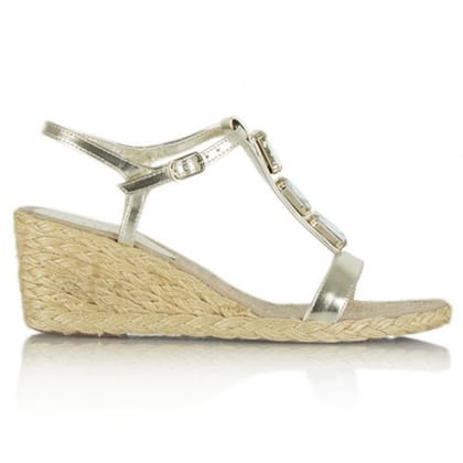 Lauren by Ralph Lauren Corala Gold Leather Jewelled Wedge Sandal