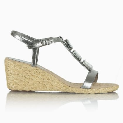 Lauren by Ralph Lauren Corala Silver Leather Jewelled Wedge Sandal