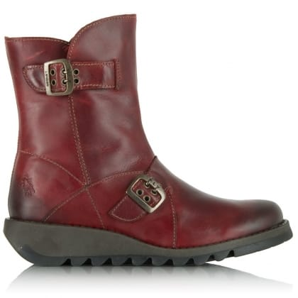 Fly London Red Leather Seti Mid Wedge Calf Boot