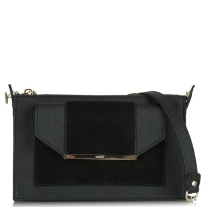 DKNY Bryant Suede Cross Black Leather Messenger Bag
