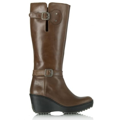Fly London Tan Mlea Wedge Knee Boot
