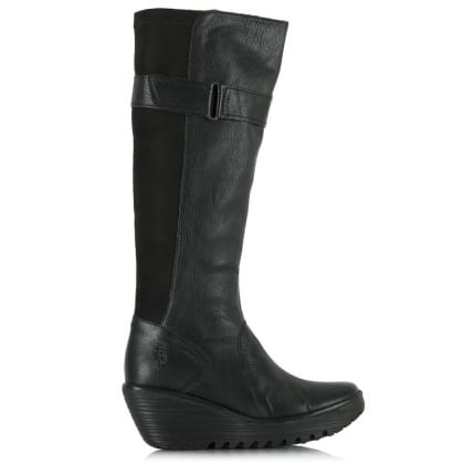 Fly London Black Yash Knee Boot