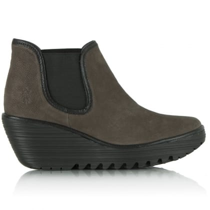 Fly London Taupe Suede Yat Women's Wedge Ankle Boot