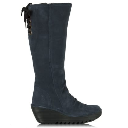 Fly London Navy Yust Women's Wedge Knee High Boot