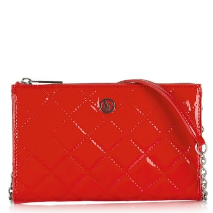 Armani Jeans Vivian Red Patent Quilted Mini Messenger Bag