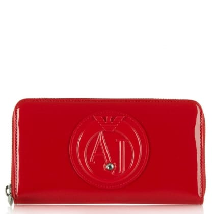 Armani Jeans Cruz Red Eco Leather Zip Around Wallet