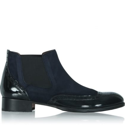 Calpierre Navy Leather Short Ankle Boot