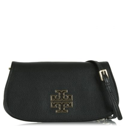 Tory Burch Britten Black Leather Rounded Slim Clutch