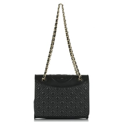 Tory Burch Fleming Black Quilted Leather Tote Bag