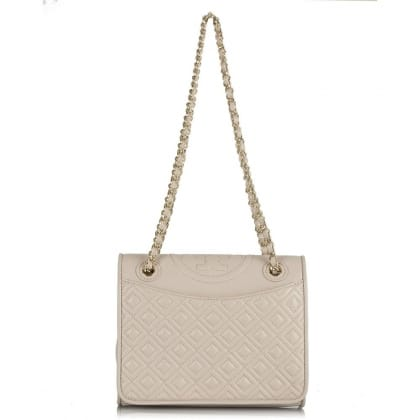 Tory Burch Fleming Quilted Beige Leather Tote Bag