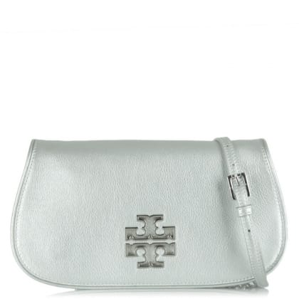 Tory Burch Britten Silver Leather Rounded Slim Clutch
