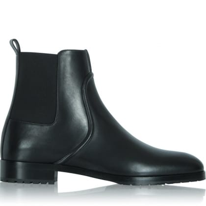 Sergio Rossi Black Leather Flat Square Chelsea Detail Boot