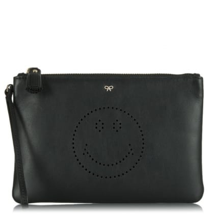 Anya Hindmarch Smiley Pouch Black Leather Perforated Clutch