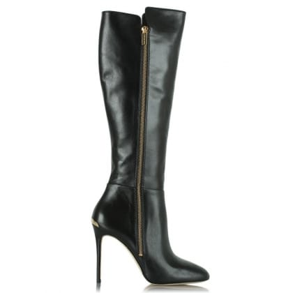 Michael Kors Clara Black Leather Logo Plaque Knee Boot