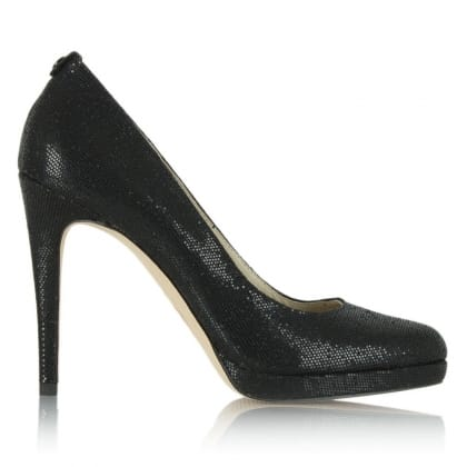 Michael Kors Georgia Black Metallic Heeled Court Shoe