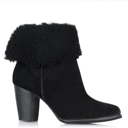 UGG Australia Charlee Black Suede Heeled Ankle Boot