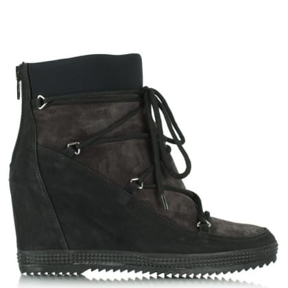 Daniel Nurture Black Suede Lace Front Wedge Ankle Boot