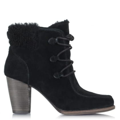 UGG Analise Black Leather Lace Up Hiker Ankle Boot
