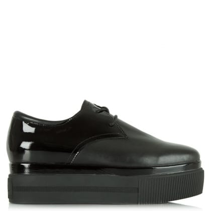 Ash Katia Bis Black Leather Lace Up Flatform Shoe