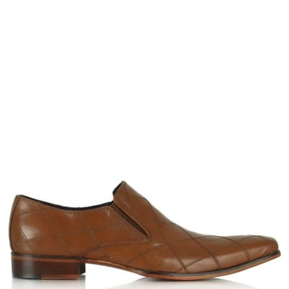Gucinari Tan Leather Diamond Stitch Loafer