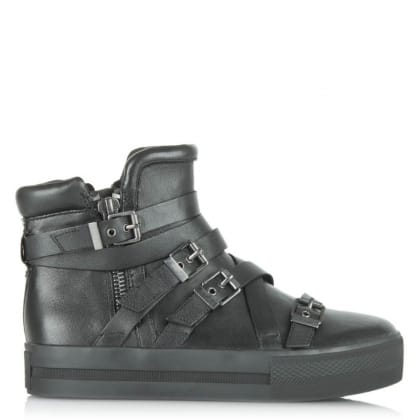 Ash Jet Bis Black Leather Flatform High Top Trainer