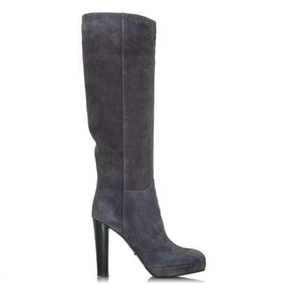 Sergio Rossi Block Heel Grey Suede Knee Boot