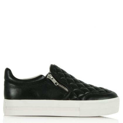 Ash Jodie Black Leather Quilted Flatform Trainer